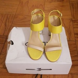 Yellow white and nude chunky heel Aldo sandal